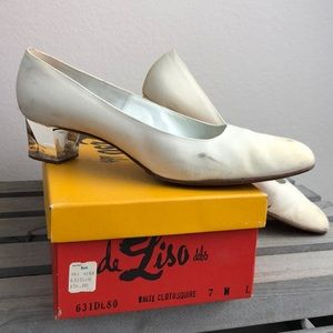 Vintage Clear Acrylic Heel White Cloth Pumps 7